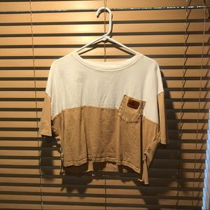 Extra large tan and white crop top